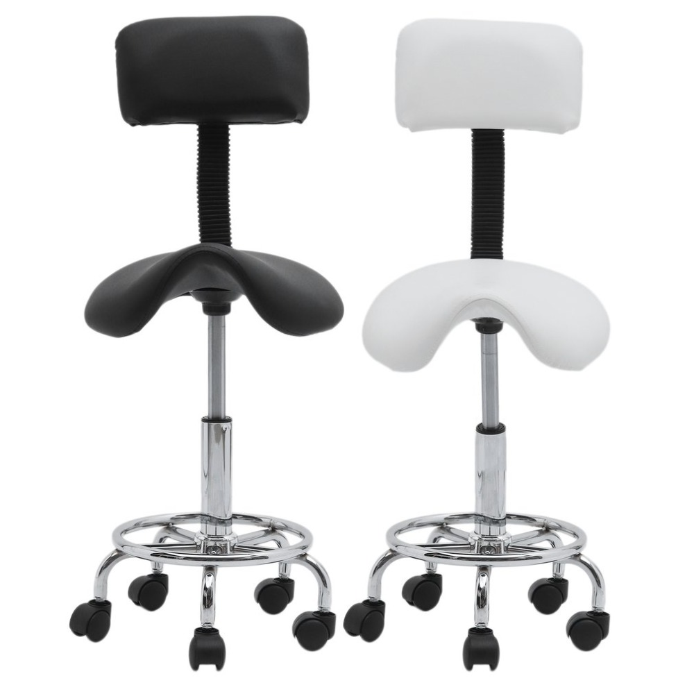 Adjustable Height Barber Chairs Rolling Swivel Salon Stools Chair 360 Degree Rolling Chair High Back Saddle Stool Home Furniture