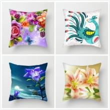 Fuwatacchi Flower Painting Cushion Cover Colorful Lotus Lily Rose Home Decorative Pillow Case Sofa Seat Car Pillowcase