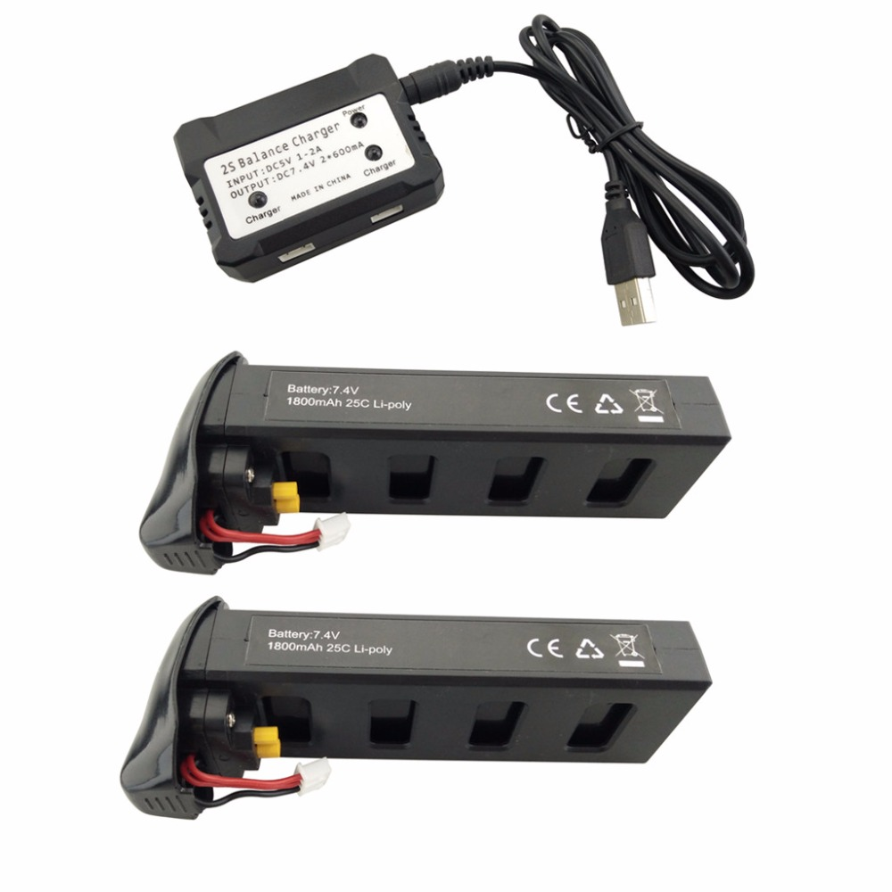 2PCS 7.4V 1800mAh Lithium Battery with 2-in-1 Charger for MJX B2C B2W B2 Bugs 2w Bugs 2 D80 F18 UAV Battery Black 2pcs 7 4v 1800mah model battery with 2 in 1 euro charger for mjx b3 bugs 3 four axis aircraft spare parts uav lithium battery