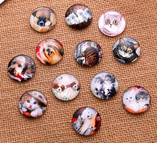24 adet 10MM 12MM 14MM 16MM kedi köpek desen yuvarlak el yapımı fotoğraf cam Cabochons ve cam kubbe kapağı kolye Cameo ayarları