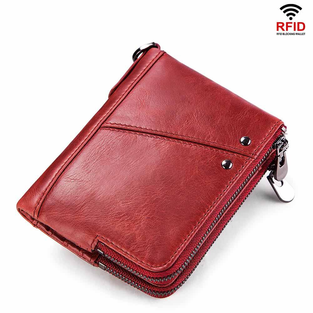 2018 Fashion Echtes Leder Rfid Frauen Brieftasche Vintage Unisex Shortpurses Münze Tasche Kurze Zipper Mini Geldbörsen Marke Geld Tasche