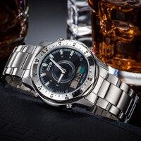 OTS Top Brand Luxury Analog Digital Dual Time Waterproof Alarm Full Stainless Steel Watch Men Quartz