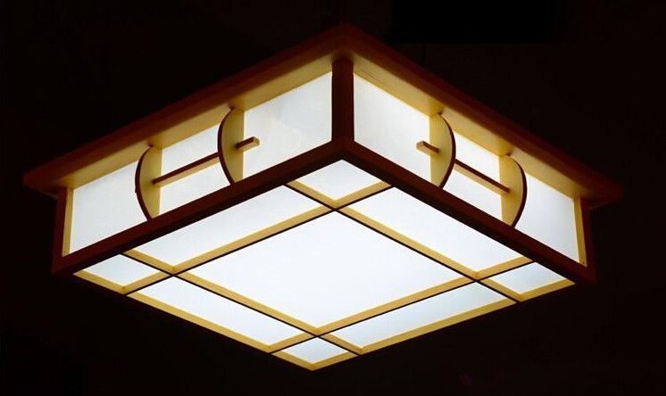 Japanese Ceiling Lights Solid Wood Lamp Indoor Lighting Living Room Tatami Sheepskin Lamp Bedroom Ceiling Light Design Square sinfull ultrathin wood sheepskin japanese tatami ceiling lights bedroom foyer asile led ceiling lighting luminaria 220v lamp