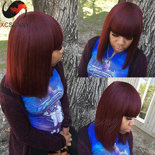 8A Grade Burgundy Brazilian Virgin Human Hair Lace Front Wigs Straight Short Bob Human Hair Full Lace Wigs With Bangs