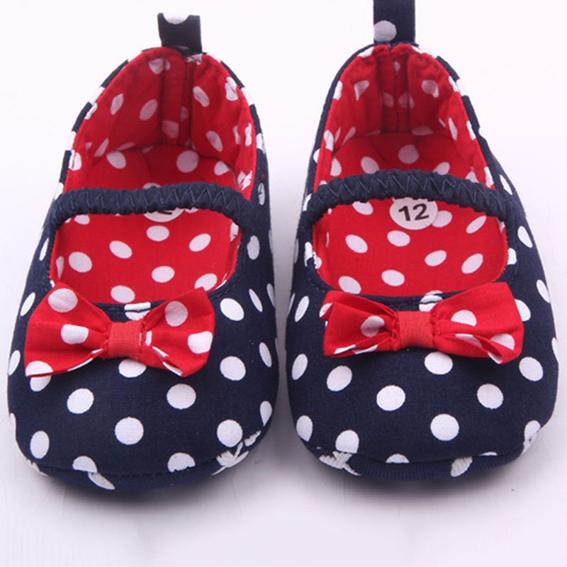 Baby Girls First Walker  Sweet Soft Warm Antiskid Toddler Flower Polka Crib Shoes