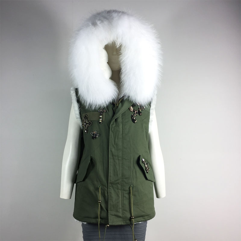 Winter Big Collar Vest White fur inside Hooded Short version sleeveless Coat