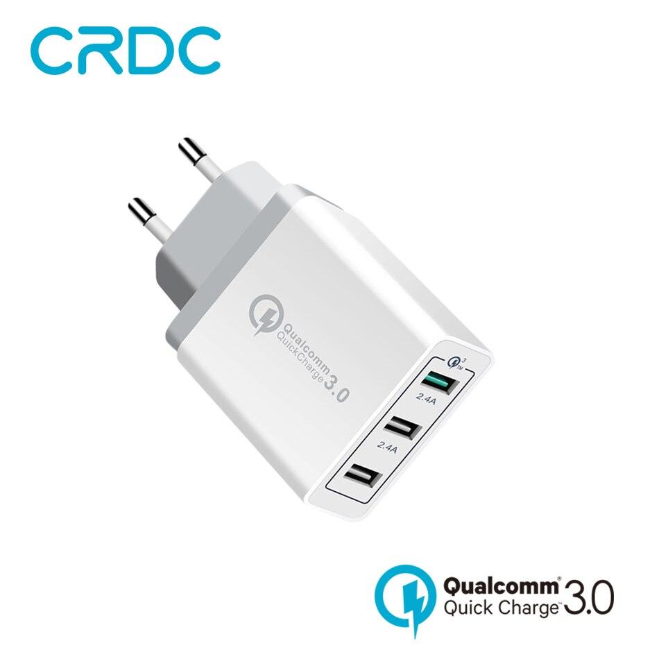 CRDC Ladegerät Schnellladung 3,0 USB 3 Port Smart Schnelle Handy-ladegerät für Xiaomi Samsung Galaxy S6 S8 iPhone 6 7 8x8 iPad ect