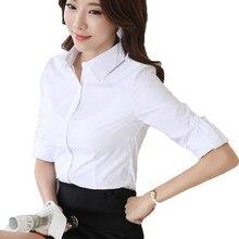 6f06e4413ed Сезон  весна–лето блузка рубашка soild Белый Элегантный Для женщин офисные  Костюмы Брендовые женские
