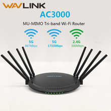 Wavlink AC3000 MU-MIMO Tri-band Wireless wifi Router/Repeater 2.4/5Ghz Gigabit Wan/Lan Smart Wi-Fi Router with Touchlink USB 3.0 english app xiaomi mi router pro wifi repeater 2533mbps 2 4g 5ghz dual band app control wifi wireless metal body mu mimo router