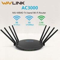 Wavlink AC3000 wireless трехдиапазонный беспроводной wifi маршрутизатор/ретранслятор 2,4/5 ГГц гигабитный Wan/Lan Смарт Wi Fi маршрутизатор с Touchlink USB 3,0