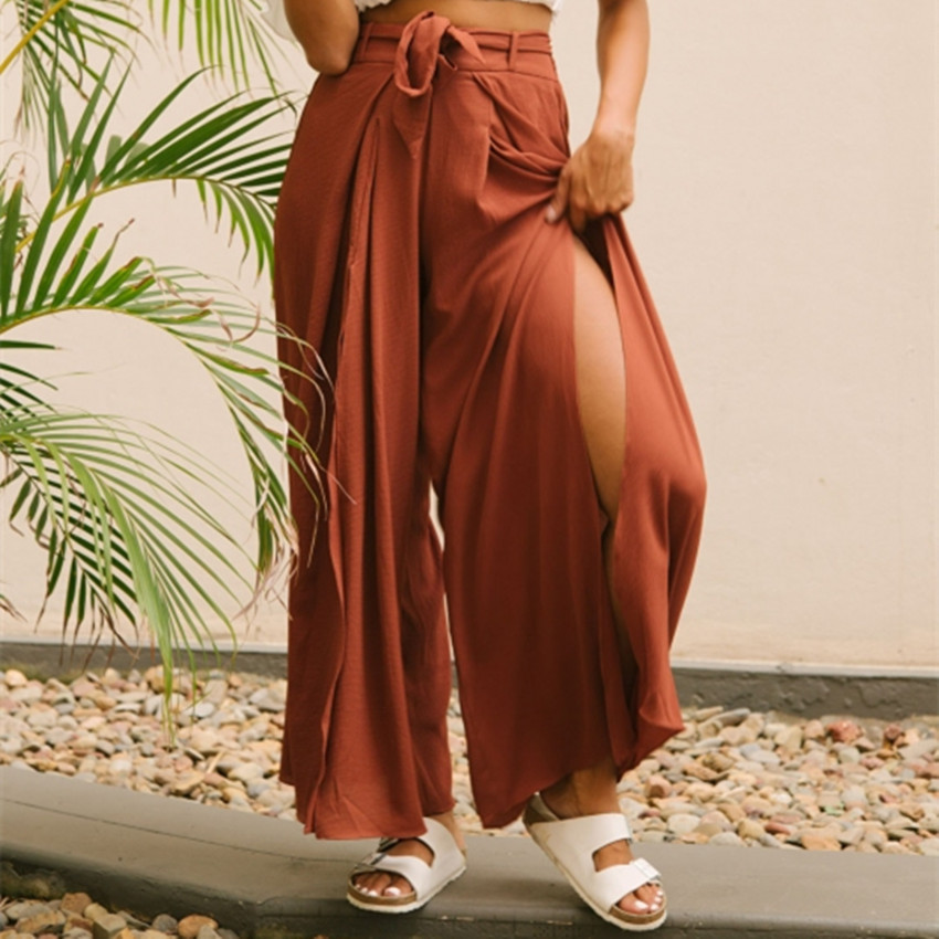 Summer beach high waist trousers ladies Clothes split wide leg   pants   women Boho Chic streetwear sash casual   pants     capris   female