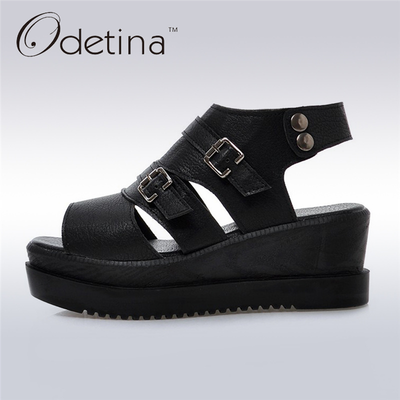 Odetina 2017 Fashion Gladiator Platform Wedge Sandals Woman Peep Toe Buckle Strap Sandals Thick Heel Summer Shoes Big Size 43 дрисколл майкл звёздное небо детская энциклопедия
