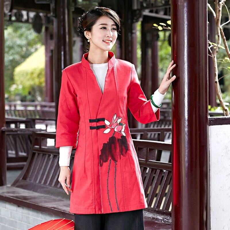 Coton Lin L Xl Rouge Chaqueta Classique Femelle M Chinois Xxxl Femmes Xxl Longue Tang 2532 Taille Manteau Vêtements Veste S Nouveauté TawXYqxpq
