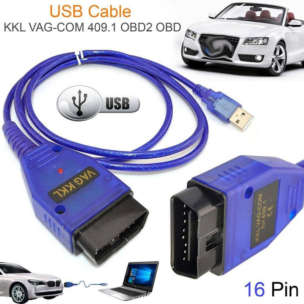 Car USB Vag-Com Interface Cable KKL VAG-COM 409.1 OBD2 OBDII 16 Pin Diagnostic Scanner Auto Cable Aux