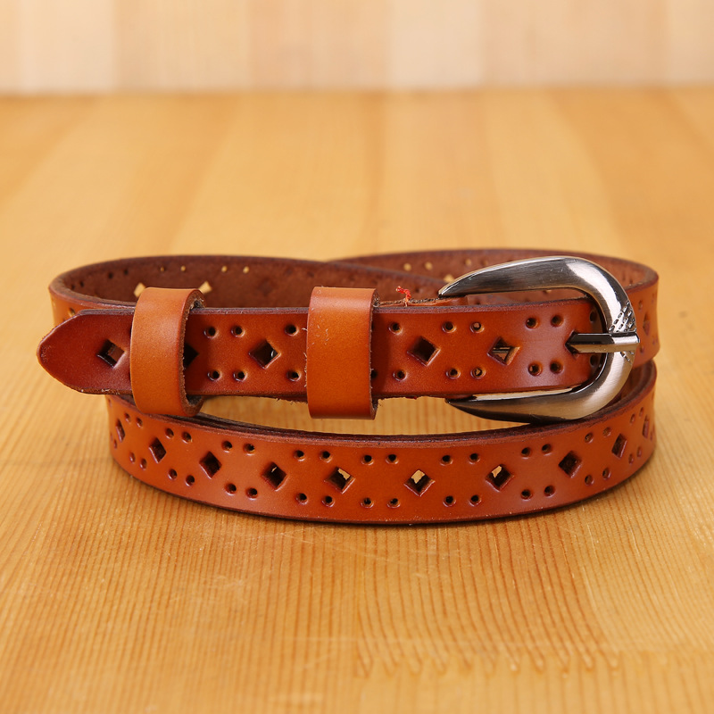 Wholesale New Women's Hollow Genuine Leather Belt Jeans Waistband Women's Fine Leather Belt