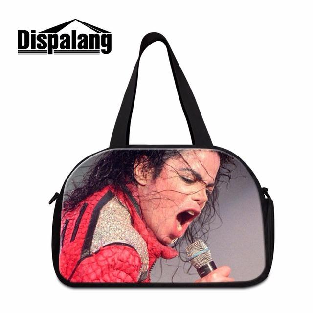 Dispalang rey michael jackson dancing bolsa con compartimentos portátil del viaje del equipaje bolsa de viaje de lona con zapatos unidad de bolsa de lona