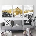 3 шт., абстрактные настенные картины «Золотая Снежная гора»