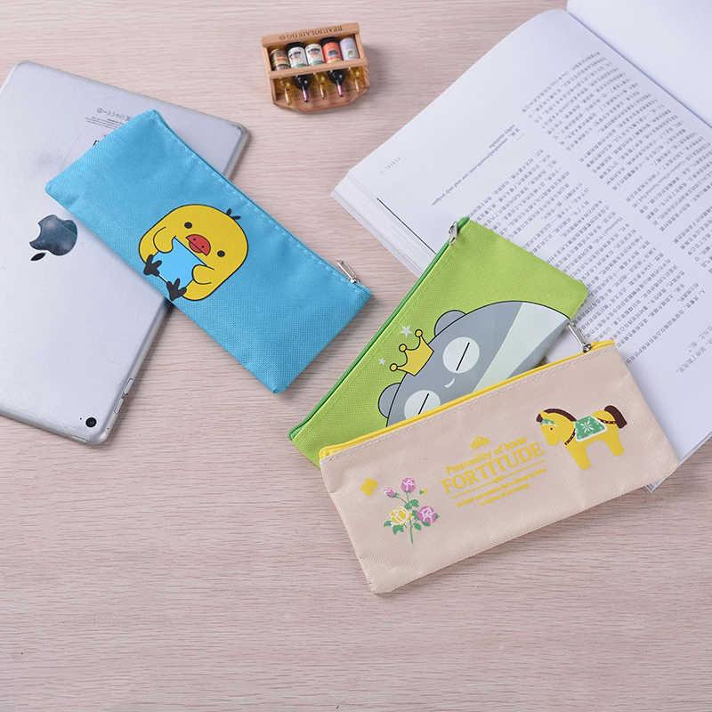 Kawaii dibujos animados lienzo caja de lápices lindo caballo Pencilcase gato bolsa de lápiz caja para niños Bts papelería oficina suministros escolares