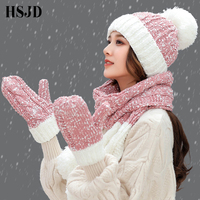 A Set Of Women Winter Hats Cute Gloves Scarf Set 3 Pieces Snowflake Thick Knitted Hat Female Warm Skullies Beanies Caps For Girl
