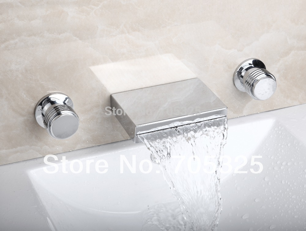 New Design 3PCS  Bathtub Ceramic  Double Handles  Deck Mounted   Chrome Polish Bathroom Basin & Sink Mixer Tap Faucet L-1262 luxury great waterfall wall mounted bathroom basin sink bathtub polished chrome double handles mixer tap faucet mf 828