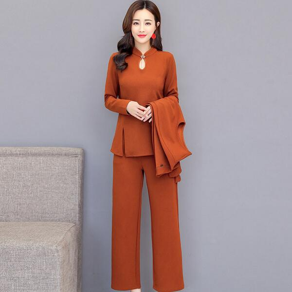 1bb9995b45 3 piece suit outfits co ord set 2 piece set pants suits and top plus size  large big 4xl 5xl winter autumn clothes elegant DC333-in Women's Sets from  Women's ...
