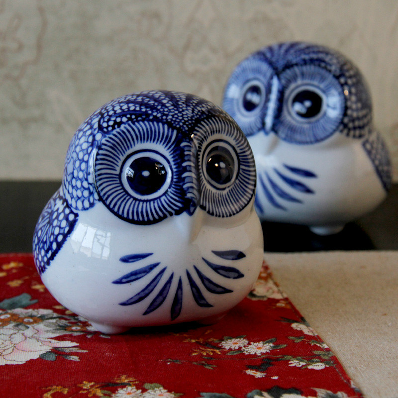 antique imitation home decor animal ceramic owl decoration blue and white porcelain furnishings