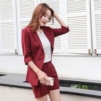 Summer Korean Striped Work Sets Short Suits for Women Thin styel Blazer & Hot Shorts Ladies Suit 2 Pieces Set 2019 Feminino