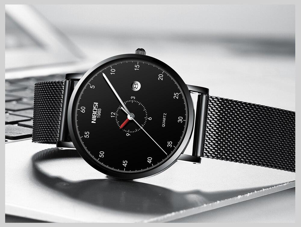 Erkek Kol Saati NIBOSI Men Watch Women Top Brand Luxury 2019 Thin Watches For Men Waterproof Black Wristwatch Female (6)