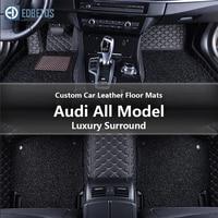 Custom Car Leather Floor Mats for Audi A6 A6 Allroad A6 Quattro A7 Quattro A8 Auto Luxury Surround Wire Floor Mat 1995 2016