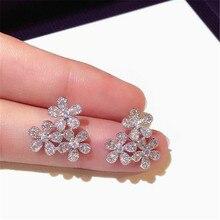 XIAO YOUNG 925 Silver Needle Cubic Zirconia Small Flower Stud Earrings Fashion Jewelry Elegant Luxurious Women Gift