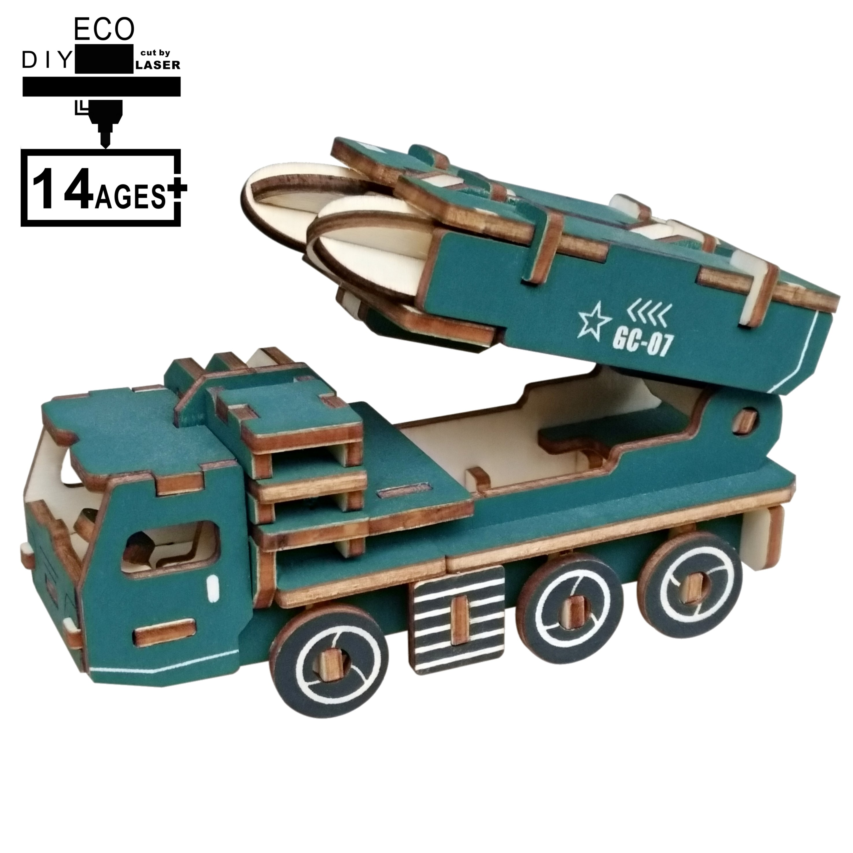Laser Cutting 3D Wooden Puzzle  Military Missile Iaunch Vehicle DIY Manual Assembly Kids Educational Wooden Toys Children Boys