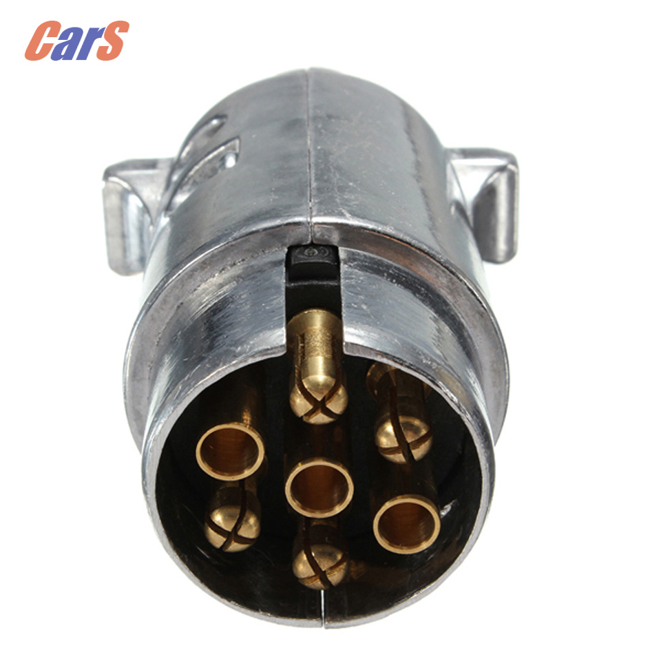 Hot 7 Pin Trailer Ute Socket Car Electrical Plug Sockets Round Male Metal Caravan Trailer Truck Ute Automotive Parts Boat