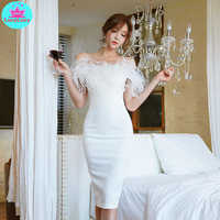 Han edition package hip sexy led a word cultivate one's morality dress female annual ostrich feather women dress