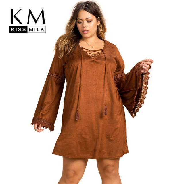Kissmilk Plus Size Mulheres Nova Moda de Roupas Streetwear Sólida Boêmio vestido de Renda Manga Longa Tamanho Grande Vestido 3XL 4XL 5XL 6XL