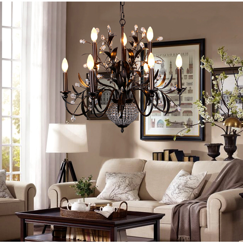 American style crystal chandelier living room bedroom dining room lamp garden hotel crystal lamp Mediterranean chandeliers light northern american mediterranean crystal droplight sitting room dining room bedroom villa hotel lobby engineering lamps