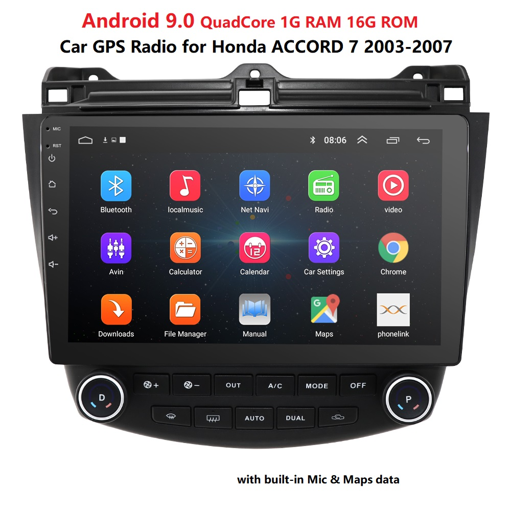 android 9.0 car radio gps player nodvd For <font><b>Honda</b></font> <font><b>Accord</b></font> <font><b>7</b></font> 2003-2007 car dvd multimedia navigation usb dvr obd2 dab dtv swc bt pc image