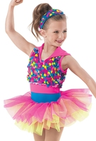 Girls' Jazz Dancing Dress Kids Colorful Sequins Dancing Skirts Children Jazz Dancing Costumes Dance Performance Suit D 0426
