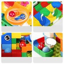 DIY Variety Building Blocks Puzzle Assembling Slide Duplo Block Plastic Constructor Marble Run Toys for Children Boys Juguetes