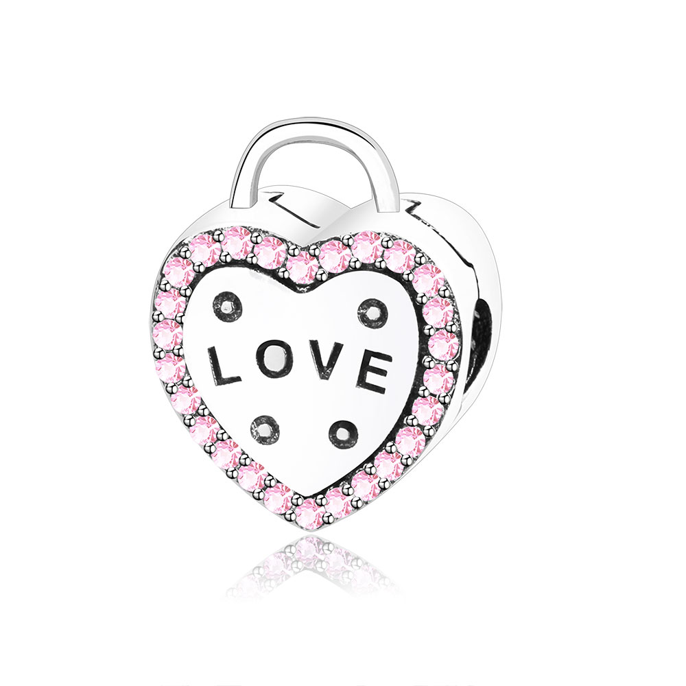 2018 Newest 925 Sterling Silver Love Heart Clip Beads Charm With Pink CZ Fits Original Pandora Charm Bracelet DIY Jewelry Making