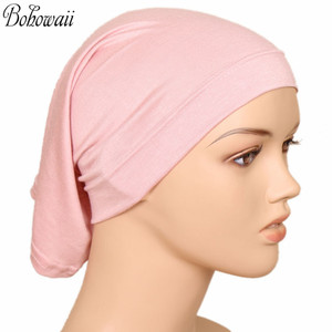 Image 4 - BOHOWAII イスラム教徒イスラムボンネットヒジャーブキャップ 20 色高品質 Hidjab 女性スカーフの下カジュアル Turbante