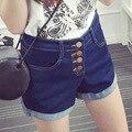 2017 женская мода джинсовые шорты повседневная высокая талия 4 кнопки твердые короткие джинсы шорты женщин 008