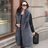 Для женщин натуральным мехом пальто с лисьим мехом со съемными рукавами вниз заполнены натуральной кожаные пальто gl0002
