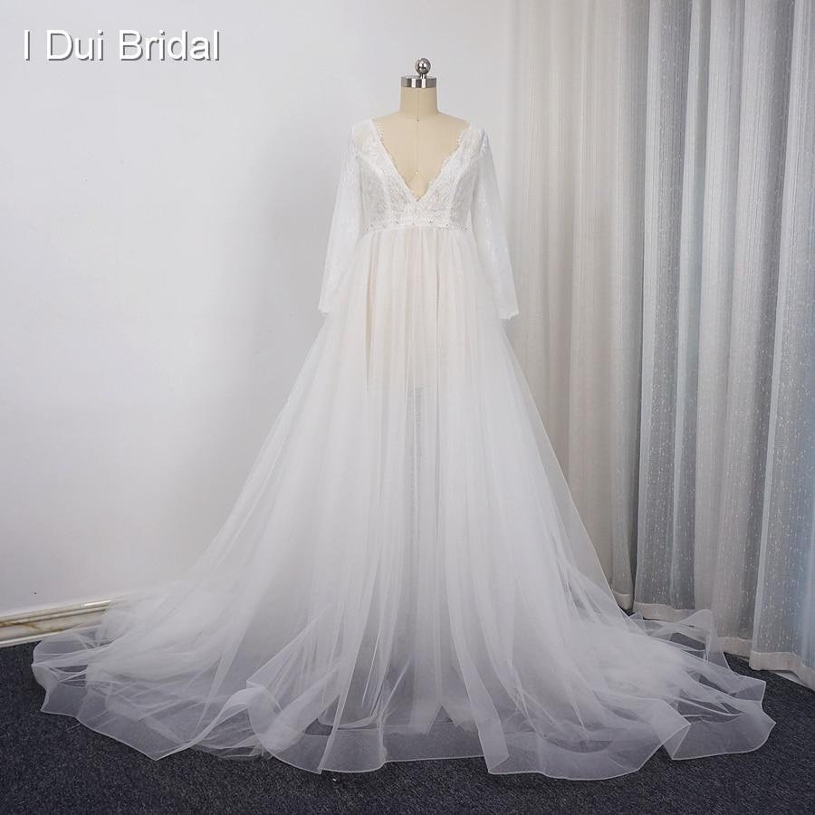 Long Sleeve Pregnant Photography Wedding Dress V Neck Illusion Tulle ...
