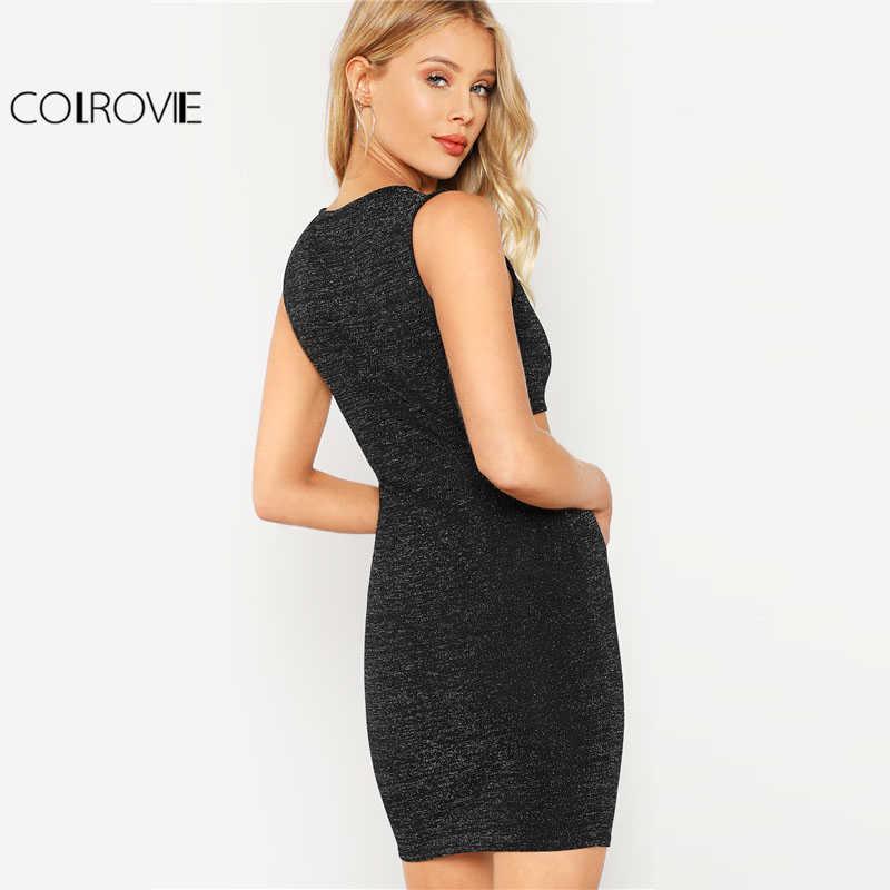 82c36e326f4 ... COLROVIE черное платье с вырезами и блестками женское платье с круглым  вырезом без рукавов с высокой ...