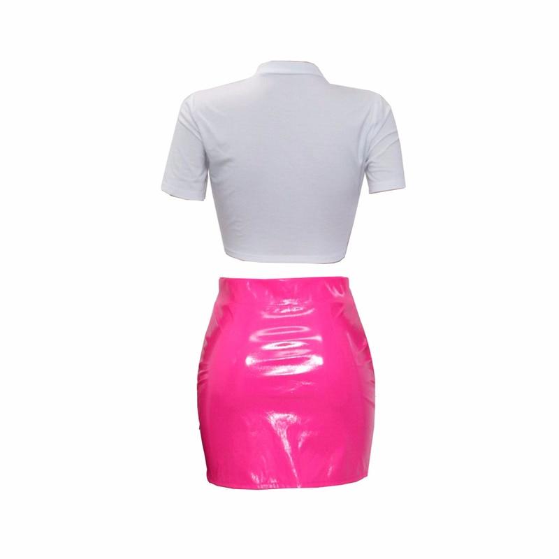ANJAMANOR/комплект из 2 предметов, сексуальная женская укороченная рубашка с рисунком губ и мини-юбка из искусственной кожи, Повседневная летняя одежда, D41-AD07