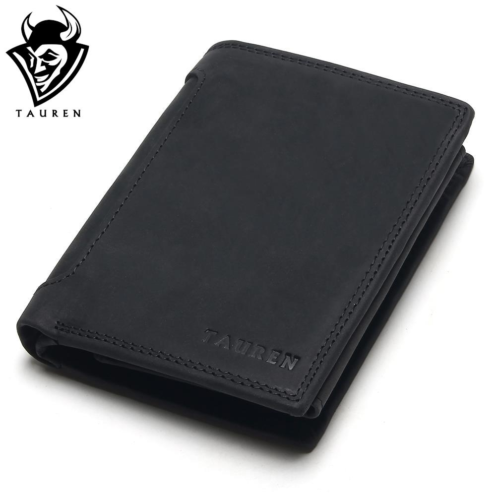 TAUREN Designer 100% Genuine Leather Cowhide Dark/Black Crazy Horse Men Short Wallet Purse Card Holder Coin Pocket Male Wallets mens wallets black cowhide real genuine leather wallet bifold clutch coin short purse pouch id card dollar holder for gift