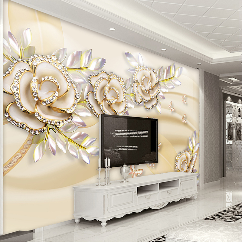 Custom Mural Wallpaper 3D Fashion Luxury European Style Golden Rose Leaves Wallpaper For Walls 3 D Hotel Living Room Home Decor