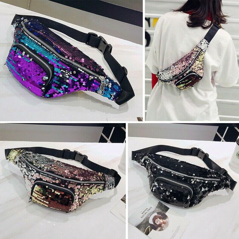 2019 Newest Hot Women Zipper Glitter Gradient Sequin Bum Bag Waist Fanny Pack Festival Travel Money Belt Wallet Pouch Waist Pack