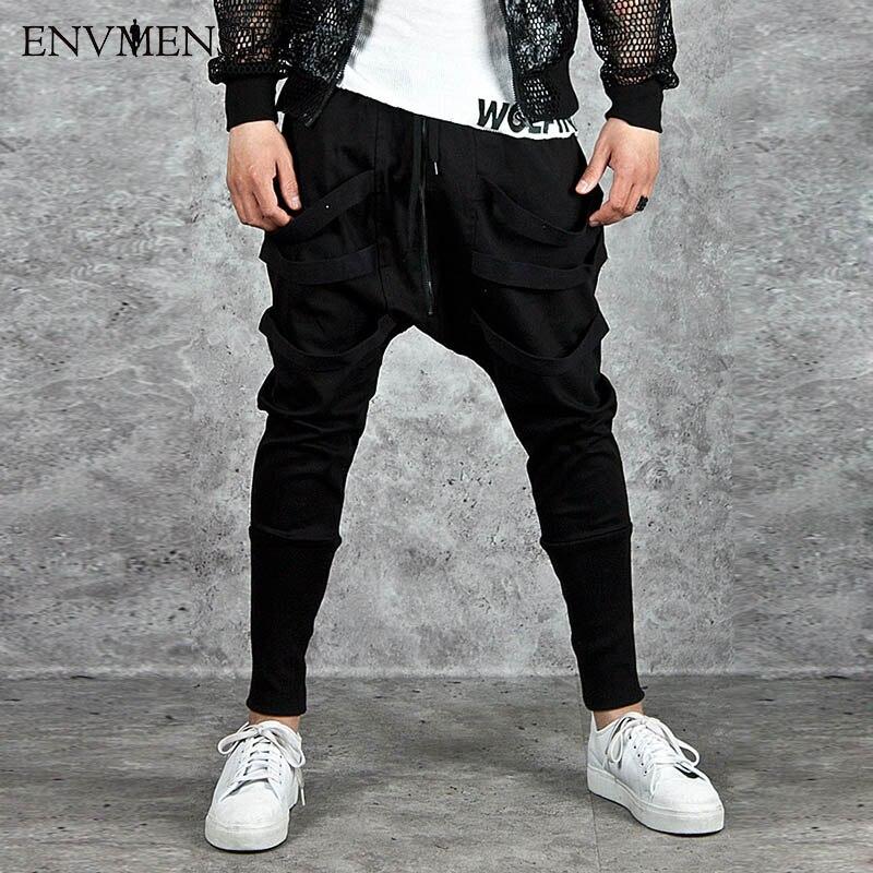 2017 Nobility Men's Jogger Pants Dance Casual Baggy Low crotch Harem Pants Slacks Trousers Ribbon Designed Sweatpants US Size