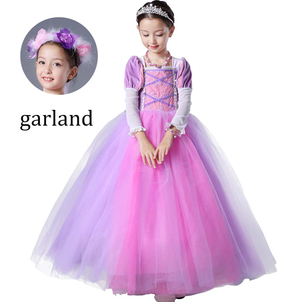 Chrismas Princess Rapunzel dress Girls Rapunzel Costume Tutu Long Dress for Halloween Cosplay Party Full sleeves purple Clothes